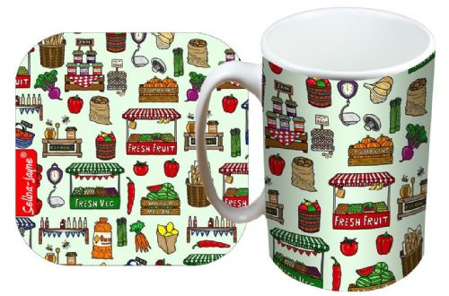 Selina-Jayne Market Day Limited Edition Designer Mug and Coaster Set